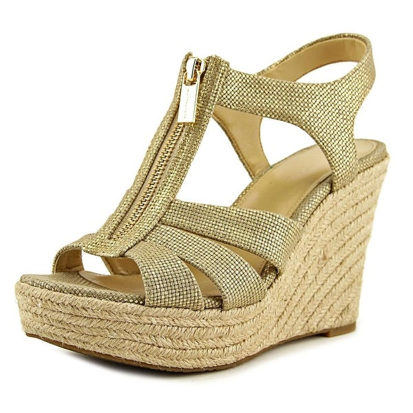 1fd8ae6eb Michael Michael Kors Berkley Wedge Women Open Toe Canvas Gold Wedge Sandal