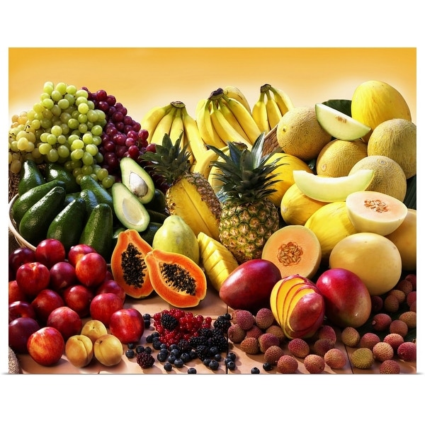 """""""Display of exotic fruit with stone fruits and avocados"""" Poster Print"""