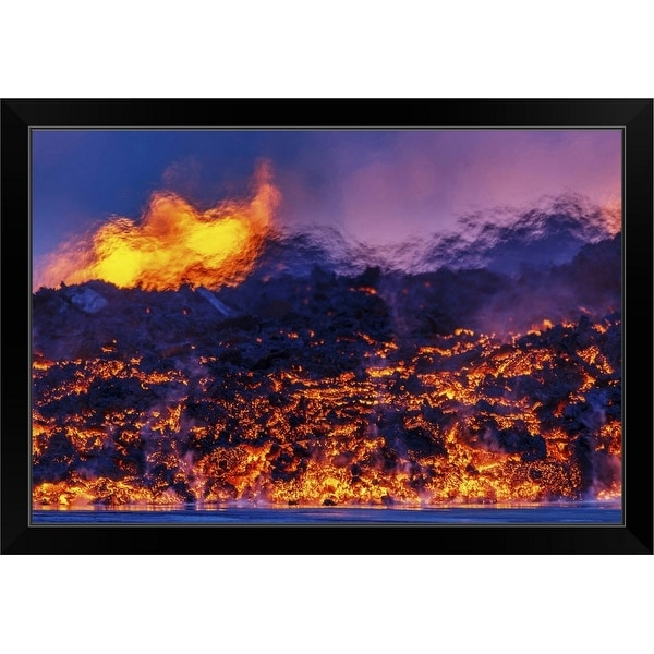 """""""Glowing lava from the eruption at the Holuhraun Fissure, Iceland"""" Black Framed Print"""