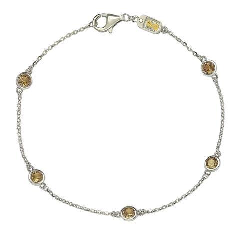 Suzy Levian Yellow Sapphire 1 cttw Sterling Silver Station Bracelet