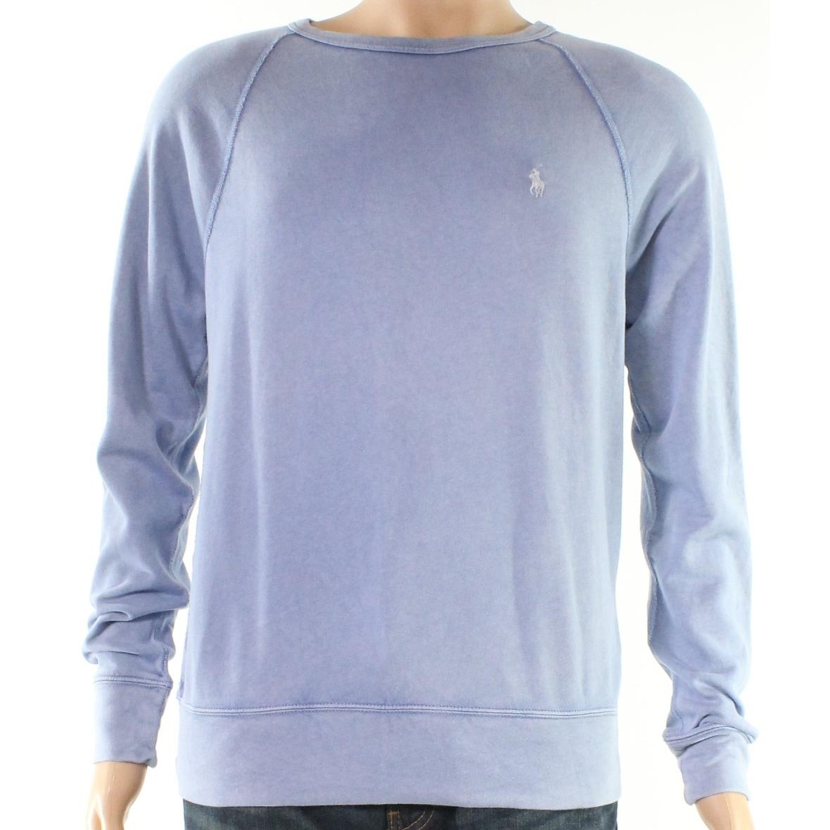 Polo Ralph Lauren Men/'s Blue Spa Terry Crew-Neck Sweatshirt