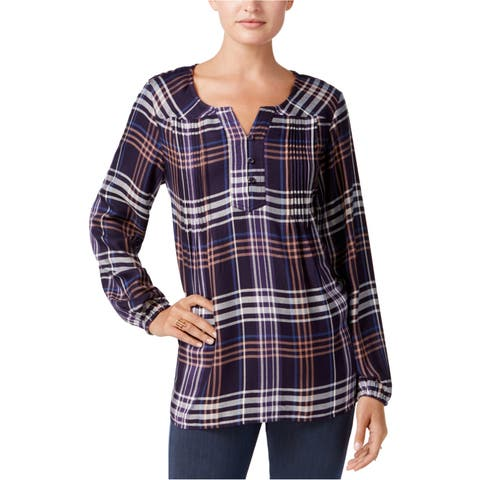 Style&Co. Womens High Low Henley Shirt