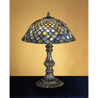 Meyda Tiffany 26673 Stained Glass / Tiffany Accent Table Lamp from the Tiffany Fishscale Collection
