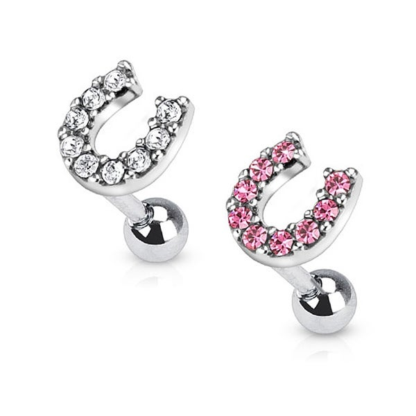 Lucky Multi Paved Horseshoe Top 316L Surgical Steel Tragus/Cartilage Barbell (Sold Ind.)