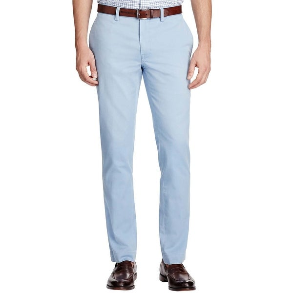 ab5b768ef8e951 Shop Polo Ralph Lauren Slim Fit Light Blue Cotton Flat Front Chinos Pants  38 x 32 - Free Shipping Today - Overstock - 19852788