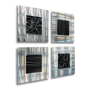 Statements2000 3D Metal Wall Art Accent Sculpture Modern Black Silver Decor by Jon Allen (Set of 4) - Freestyle