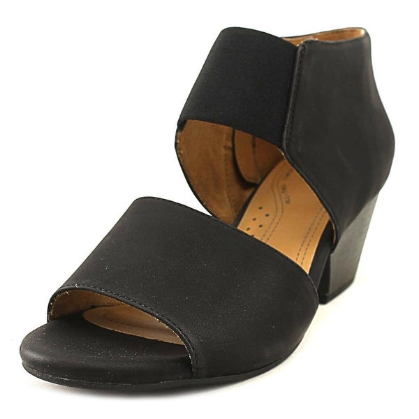 NaturalSoul by Naturalizer Dylan Women W Open-Toe Leather Black Bootie