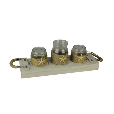 3 Glass Jar Candle Holders and Wood Tray 4 Piece Coastal Decor Centerpiece Set - 6 X 20 X 6 inches