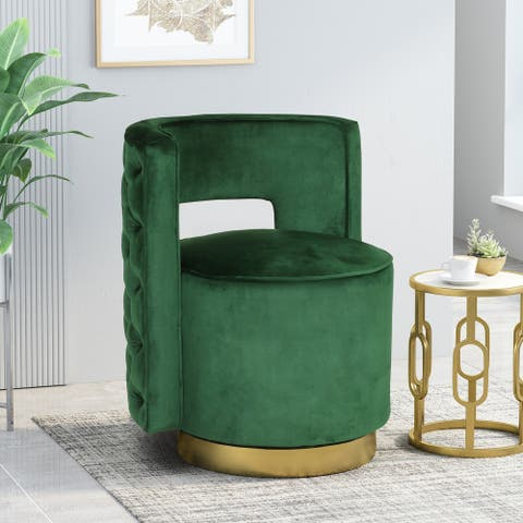 """Cardan Modern Glam Round Open Back Velvet Swivel Club Chair by Christopher Knight Home - 26.25"""" L x 24.25"""" W x 28.50"""" H"""
