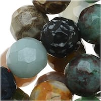 Gemstone Bead Lot Mix 10mm Faceted Round Beads - 15.5 Inch Strand