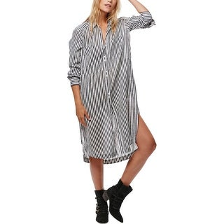 Free People Womens Shirtdress Striped Faded - m