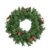 "24"" Iced Mixed Pine, Red Berry and Pine Cone Artificial Christmas Wreath - Unlit - green"