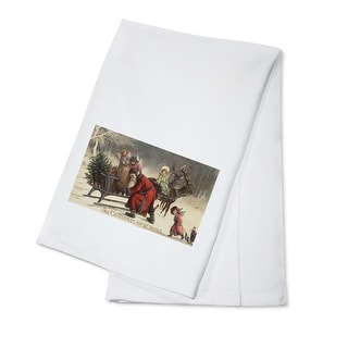 Christmas Greeting - Santa and Sleigh - Vintage Holiday Art (100% Cotton Towel Absorbent)
