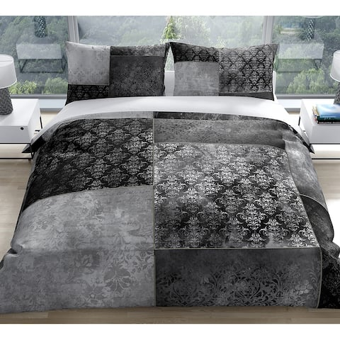 ECLECTIC BOHEMIAN PATCHWORK DARK GREY Duvet Cover by Kavka Designs