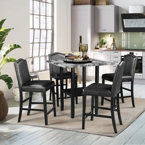 5 Pieces Dining Set,4 Black Chair&1 PVC Top Grey Table