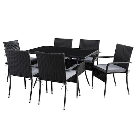 CorLiving Parksville Rectangle Patio Dining Set with Stackable Chairs - Black Finish/Ash Grey Cushions 7pc