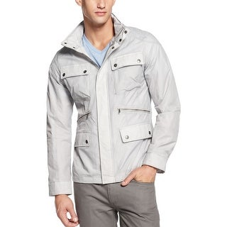 Calvin Klein CK Trans Ref Mens Hooded Gray Windbreaker Jacket