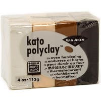 Kato Polyclay 2Oz 4-Color Set-Neutral-White, Beige Flesh, Brown & Blck