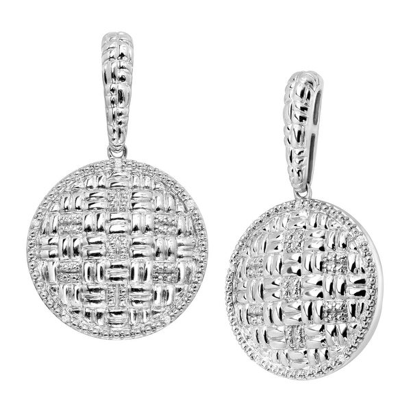 Basketweave Drop Earrings with Diamonds in Sterling Silver