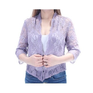 Womens Purple Floral 3/4 Sleeve Open Casual Top Size 10