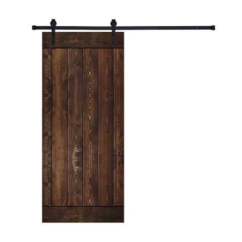 Paneled Wood Dark Brown Barn Door with Hardware Kit -Single Door