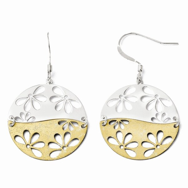 Sterling Silver Gold-tone 18k Flash Plated Dangle Earrings