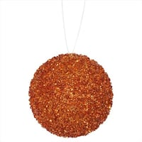 4 ct. Orange Sequin And Glitter Drenched Christmas Ball Ornaments -