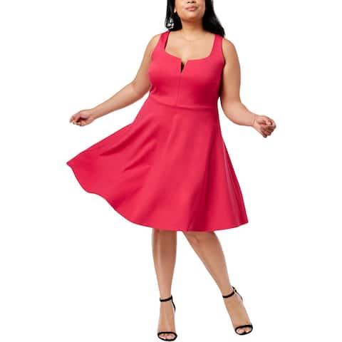 Soprano Womens Plus Cocktail Dress Ruffled Sleeveless