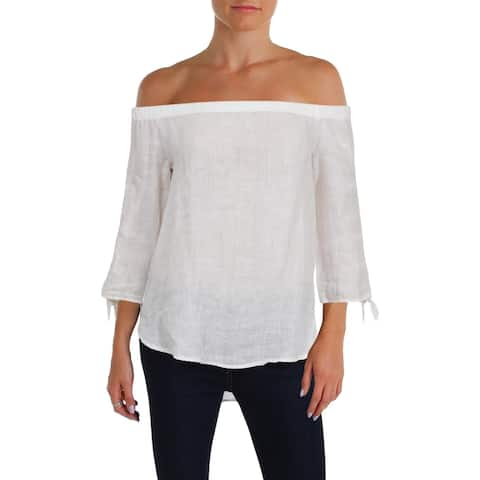 Side Stitch Womens Pullover Top Linen Off The Shoulder