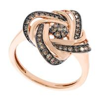 Prism Jewel 0.39Ct Round Real Brown Color Diamond Anniversary Ring