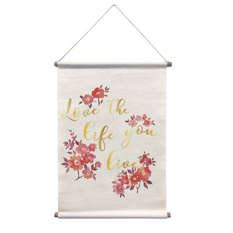 "Brewster WPT2880 WallPops Love Your Life 32"" x 18"" Botanical Vinyl Canvas Wall Hanging Tapestry -"