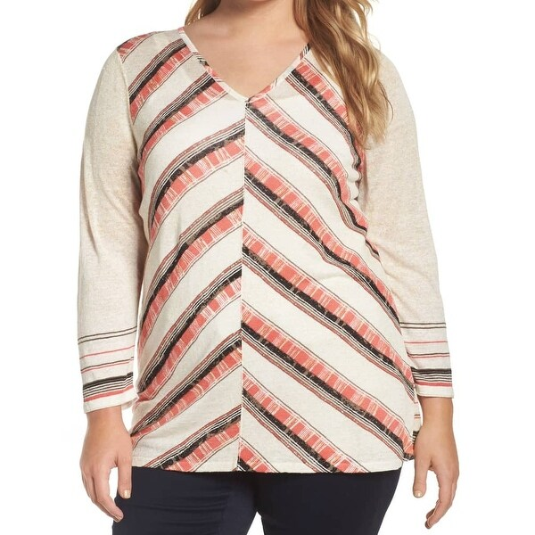Nic + Zoe Pink Printed Striped Women Plus V-Neck Knit Top