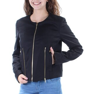 Womens Black Casual Zip Up Jacket Size 4