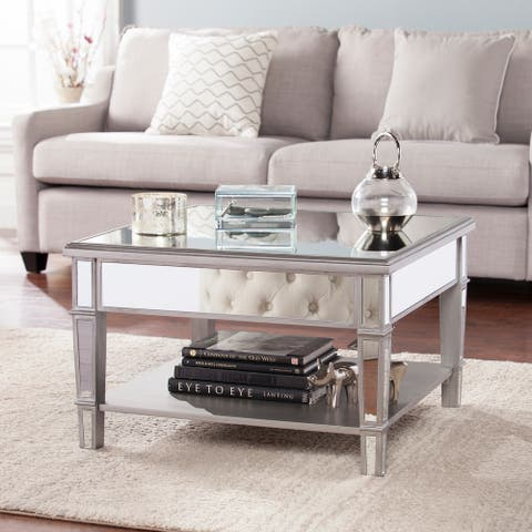 Silver Orchid Wheaton Glam Mirror Cocktail Table