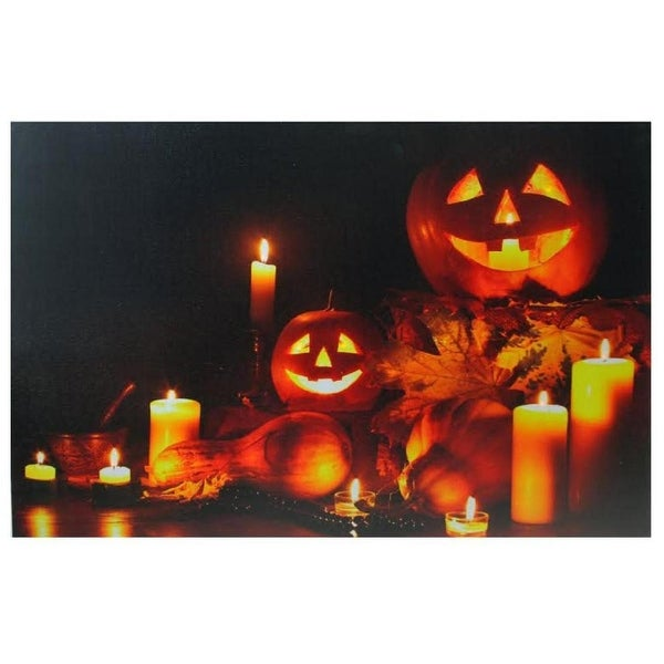 """b46ad5c385e Shop LED Lighted Halloween Jack-O-Lanterns Fall Harvest Canvas Wall Art  15.75"""" x 23.5"""" - Yellow - On Sale - Free Shipping On Orders Over $45 -  Overstock - ..."""