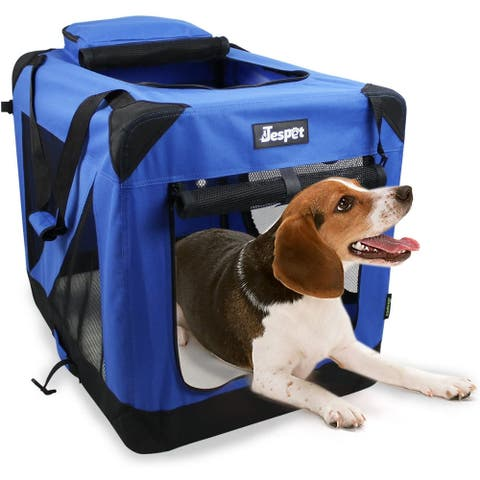 JESPET Indoor & Outdoor 3-Door Collapsible Soft-Sided Dog Crate