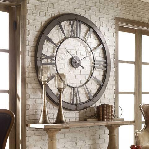 Uttermost 06084 Ronan Oversized Rustic Farmhouse Wall Clock - Dark Rustic Bronze