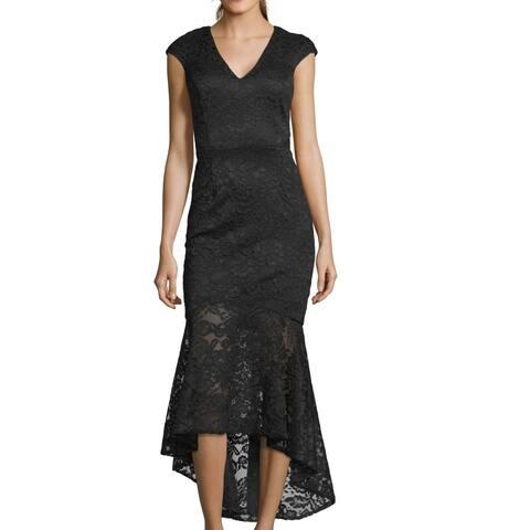 Xscape Women's Dress Black Size 16 A-Line Cap Sleeve V-Neck Lace