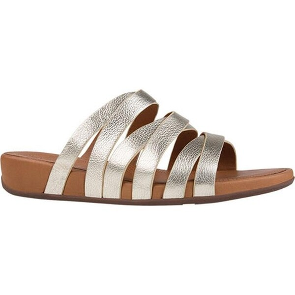 4f9afb7e36b2 Shop FitFlop Women s Lumy Slide Sandal Pale Gold Metallic Leather ...