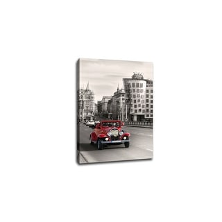 Vintage Car in Prague - Touch of Color - 36x24 Gallery Wrapped Canvas ToC