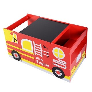 Costway Kids Mutifunctional Wooden Bus-like Table and Chairs Set Drawing Board