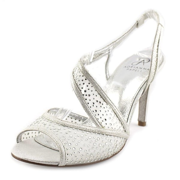 Adrianna Papell Andie Women Open-Toe Leather Silver Heels