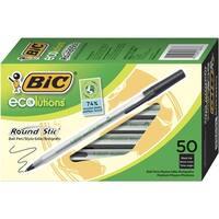 Bic Ecolutions Stick Pen, 1.0 mm Medium Tip, Translucent Barrel and Black Ink, Pack of 50