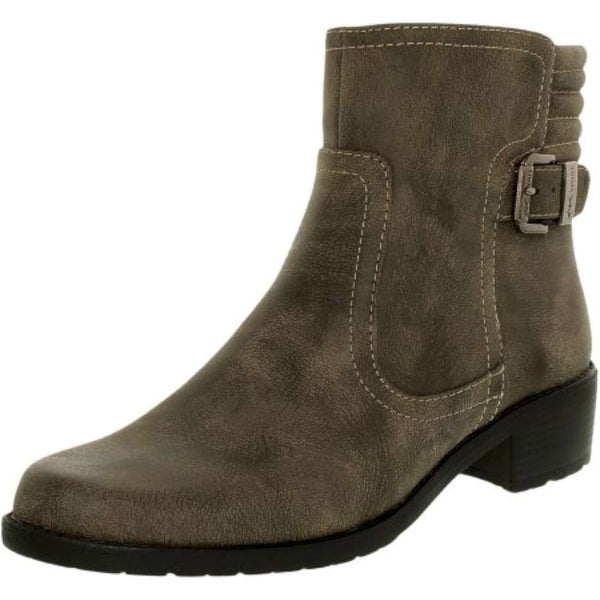 Anne Klein Womens LANETTE Closed Toe Ankle Fashion Boots, TAUPE SY, Size 5.0