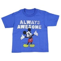 Disney T Shirt Mickey Mouse Tee Always Awesome Cartoon Character  Boy's Top