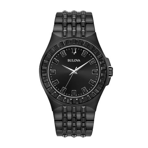 Bulova Men's 98A240 Black IP Crystal Pave Accented Black Bracelet Watch