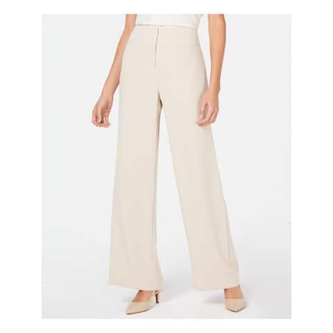 ALFANI Womens Beige High Waisted Wide Leg Pants Size 6