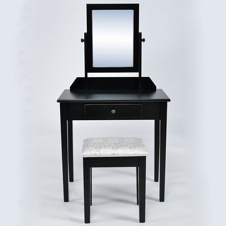 Belleze Classic Contemporary 2 Piece Wood Make-Up Vanity Table with Stool Set, Black