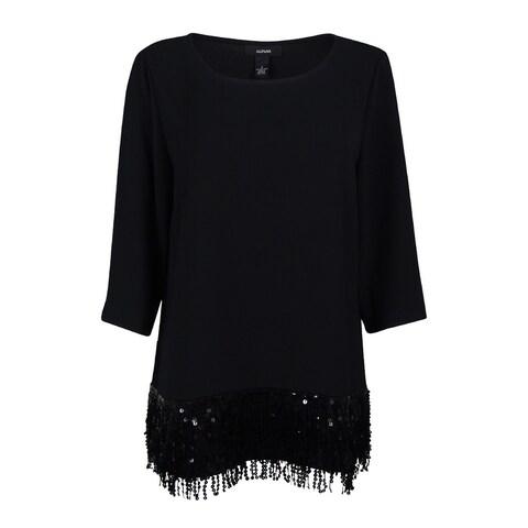 Alfani Women's 3/4 Sleeve Sequin Fringe Top - Deep Black