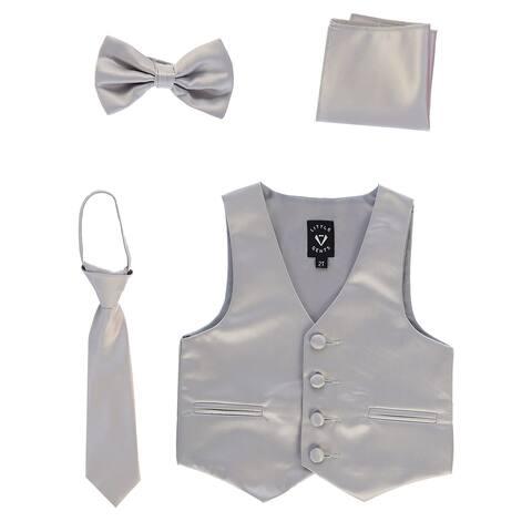 Lito Boys Silver Satin Vest Zipper Tie Hanky Bowtie Clothing Set 12